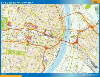Mapa St Louis downtown gigante