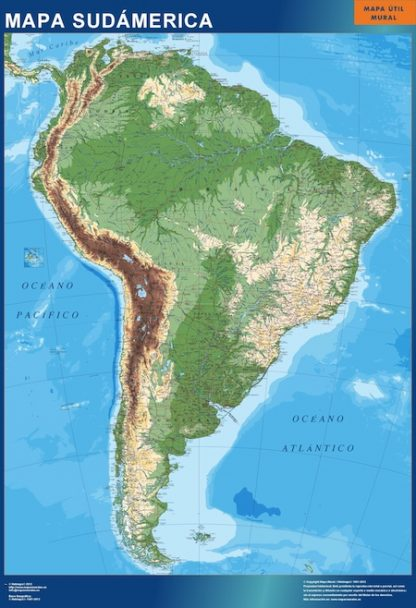 Mapa Sudamerica físico gigante