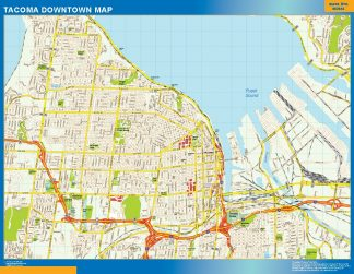 Mapa Tacoma downtown gigante