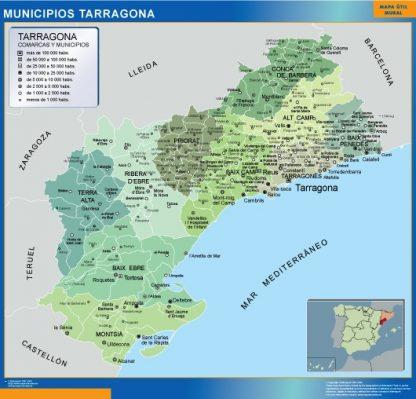 Mapa Tarragona por municipios gigante