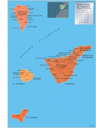 Mapa Tenerife por municipios gigante