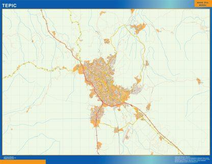 Mapa Tepic en Mexico gigante