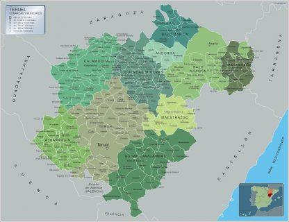 Mapa Teruel por municipios gigante