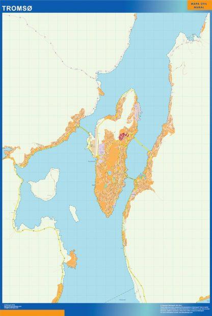 Mapa Tromso en Noruega gigante