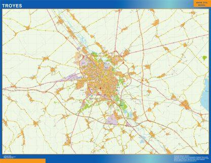 Mapa Troyes en Francia gigante
