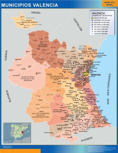 Mapa Valencia por municipios gigante