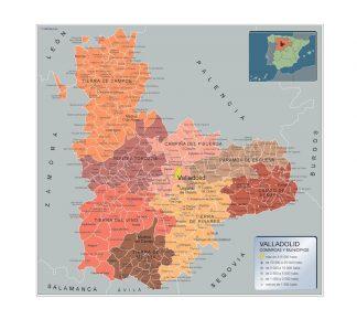 Mapa Valladolid por municipios gigante