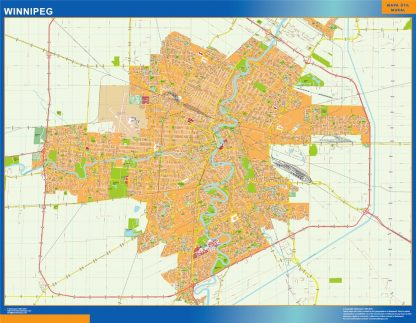 Mapa Winnipeg en Canada gigante