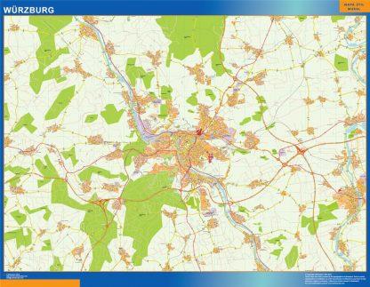 Mapa Wurzburg en Alemania gigante