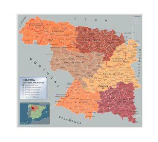 Mapa Zamora por municipios gigante