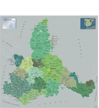 Mapa Zaragoza por municipios gigante
