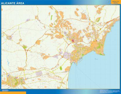 Mapa carreteras Alicante Area gigante