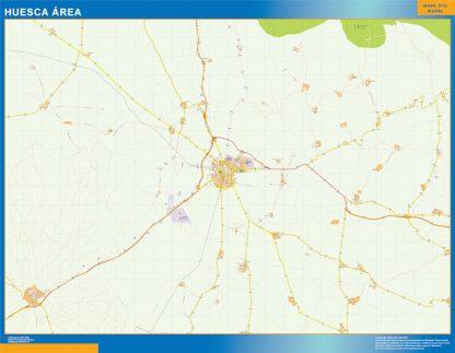 Mapa carreteras Huesca Area gigante