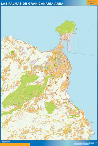 Mapa carreteras Las Palmas Gran Canaria Area gigante
