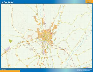 Mapa carreteras Leon Area gigante
