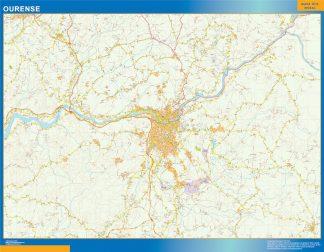 Mapa carreteras Ourense Area gigante
