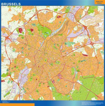 Mapa de Bruselas en Bélgica gigante