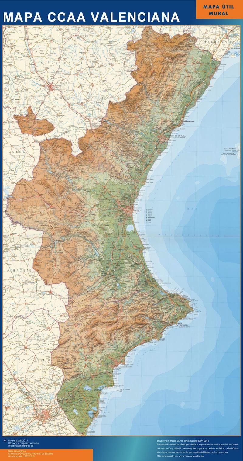 Mapa Topografico Comunidad Valenciana.Mapa De Comunidad Valenciana Relieve Vinilo Adhesivo Grande