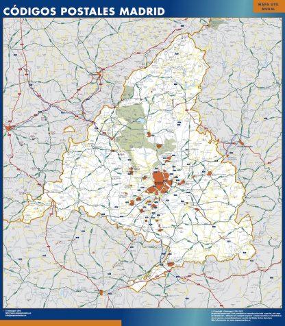 Mapa de Comunidad de Madrid códigos postales gigante