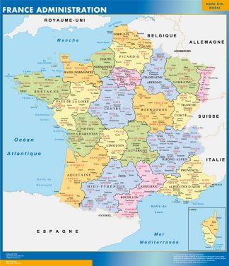 Mapa de Francia de departamentos gigante