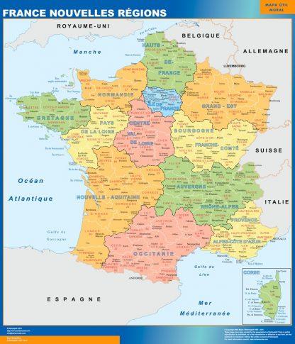 Mapa de Francia con las nuevas regiones gigante