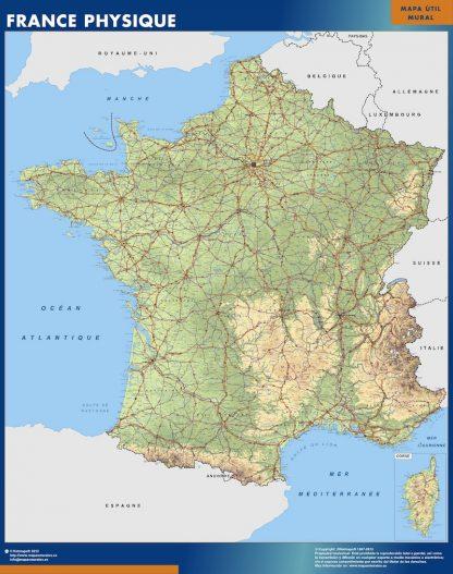 Mapa de Francia físico gigante