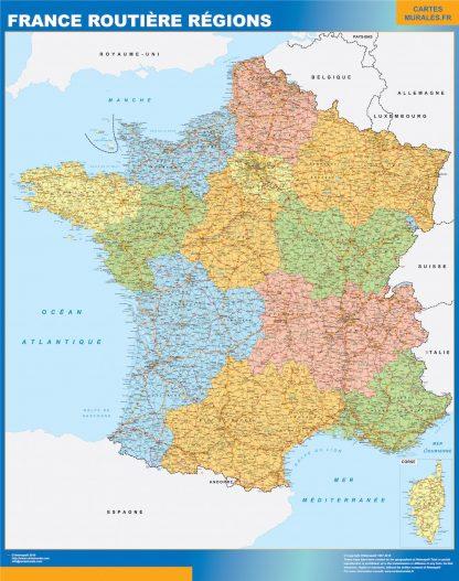 Mapa de Francia regional con carreteras gigante