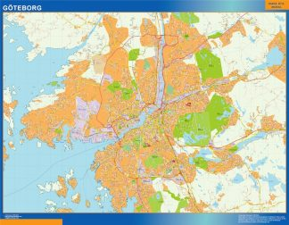 Mapa de Goteborg en Suecia gigante