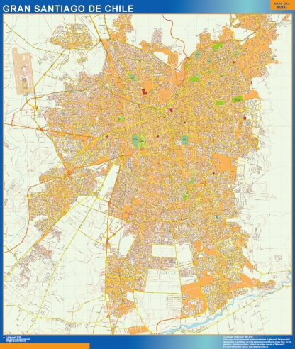 Mapa de Gran Santiago de Chile en Chile gigante