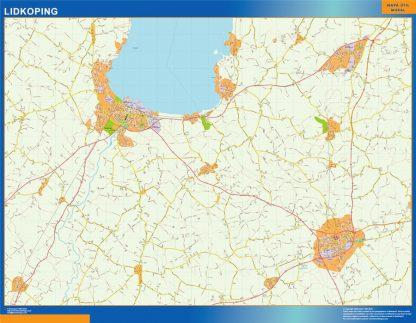 Mapa de Lidkoping en Suecia gigante
