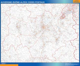 Mapa región Auvergne-Rhone-Alpes postal gigante