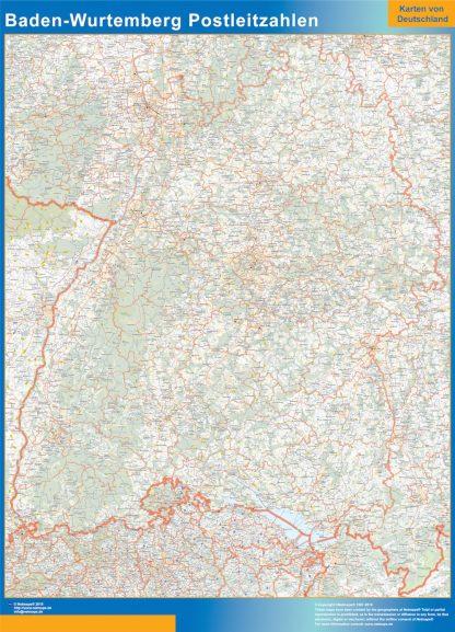 Mapa región Baden-Wurtemberg codigos postales gigante