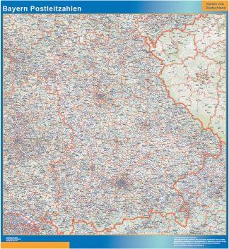 Mapa región Baviera codigos postales gigante