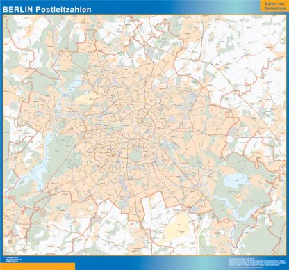 Mapa región Berlin codigos postales gigante