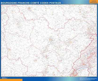 Mapa región Bourgogne Franche Comte postal gigante