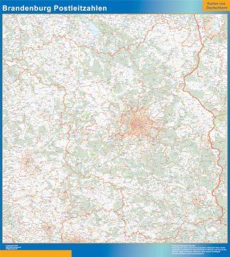 Mapa región Brandenburgo codigos postales gigante
