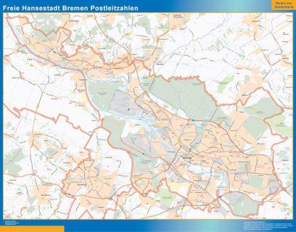 Mapa región Bremen codigos postales gigante