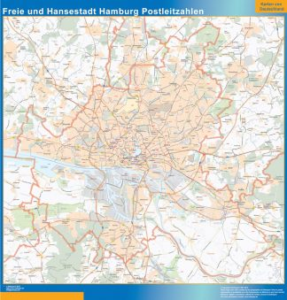 Mapa región Hamburgo codigos postales gigante