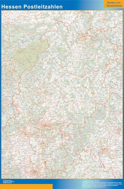 Mapa región Hessen codigos postales gigante