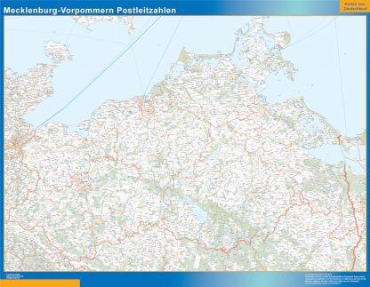 Mapa región Mecklenburg-Vorpommern codigos postales gigante