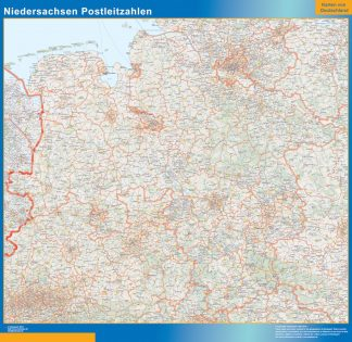 Mapa región Niedersachsen codigos postales gigante