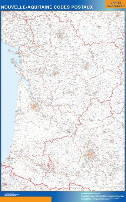 Mapa región Nouvelle Aquitaine postal gigante