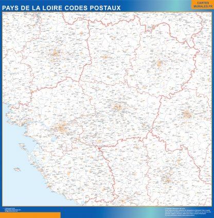 Mapa región Pays de la Loire postal gigante