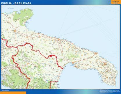 Mapa región Puglia Basilicata gigante