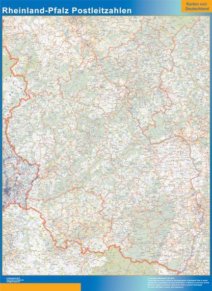 Mapa región Rheinland-Pfalz codigos postales gigante