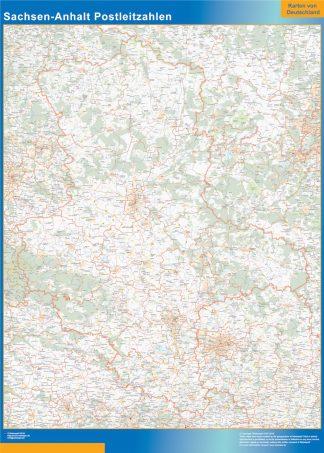 Mapa región Sachsen-Anhalt codigos postales gigante