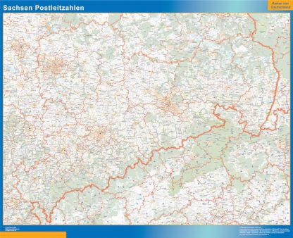 Mapa región Sachsen codigos postales gigante