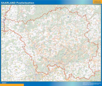 Mapa región Sarre codigos postales gigante