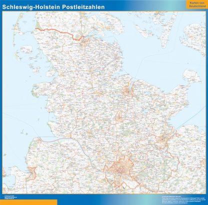 Mapa región Schleswig-Holstein codigos postales gigante