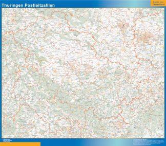 Mapa región Turingia codigos postales gigante